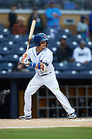 Andrew Velazquez (11) of the Durham Bulls at bat against the Gwinnett Braves at Durham Bulls Athletic Park on April 20, 2019 in Durham, North Carolina. The Bulls defeated the Braves 11-3 in game one of a double-header. (Brian Westerholt/Four Seam Images)