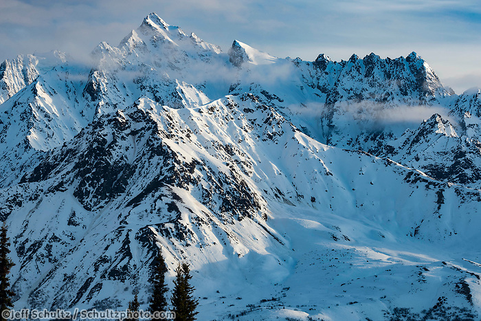 Spring landscape of Chugach Mountains in the Taheeta Pass area.  Alaska   Sunny day-- blue sky<br /> <br /> Photo by Jeff Schultz/  (C) 2020  ALL RIGHTS RESERVED