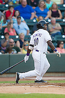 Courtney Hawkins (10) of the Winston-Salem Dahs follows through on his swing during a game against the Carolina Mudcats at BB&T Ballpark on June 6, 2014 in Winston-Salem, North Carolina.  The Mudcats defeated the Dash 3-1.  (Brian Westerholt/Four Seam Images)