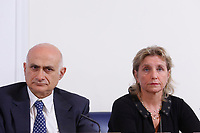 Spallanzani Hospital Scientist Director Giuseppe Ippolito and General Director of the hospital for infectious diseases Spallanzani Marta Branca<br /> Rome February 27th 2020. Press conference at the Foreign Press Association about Coronavirus (Covid-19). The Italian Government try to calm the fears about the outbreak of the flu, to avoid a drop of the tourism and commercial relations.<br /> Photo Samantha Zucchi Insidefoto