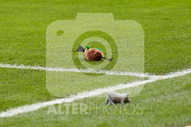 Atletico de Madrid's fans throw teddy rats during La Liga match between Atletico de Madrid and Real Madrid at Wanda Metropolitano Stadium in Madrid, Spain. February 09, 2019. (ALTERPHOTOS/A. Perez Meca)