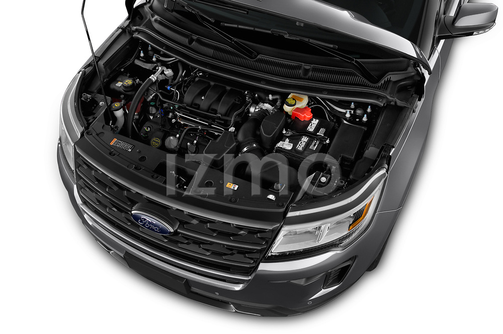 Car stock 2019 Ford Explorer XLT 5 Door SUV engine high angle detail view