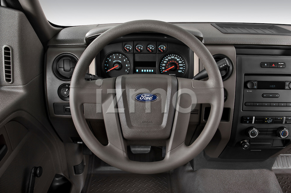 Steering wheel view of a 2009 Ford F150 XL Super Cab
