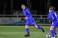 forward Hanne Merkelbach (25) of KRC Genk pictured during a female soccer game between  Racing Genk Ladies and RSC Anderlecht on the 16 th matchday of the 2020 - 2021 season of Belgian Scooore Womens Super League , friday 12 th of March 2021  in Genk , Belgium . PHOTO SPORTPIX.BE   SPP   SEVIL OKTEM