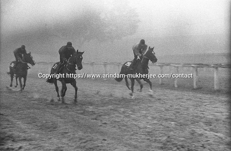 Jockeys practices at Royal Calcutta Turf club. Kolkata, India.