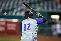 Xavier Fernandez (12) of the Winston-Salem Dash at bat against the Greensboro Grasshoppers at First National Bank Field on June 3, 2021 in Greensboro, North Carolina. (Brian Westerholt/Four Seam Images)