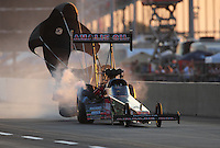 Jul, 9, 2011; Joliet, IL, USA: NHRA top fuel dragster driver Terry McMillen during qualifying for the Route 66 Nationals at Route 66 Raceway. Mandatory Credit: Mark J. Rebilas-