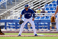 Toronto Blue Jays first baseman Rowdy Tellez (44) waits for a throw during a Major League Spring Training game against the Pittsburgh Pirates on March 1, 2021 at TD Ballpark in Dunedin, Florida.  (Mike Janes/Four Seam Images)