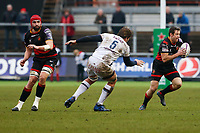 Adam Warren of Dragons runs forward under pressure from Jandre Marais of Bordeaux Begles during the European Challenge Cup match between Dragons and Bordeaux Begles at Rodney Parade, Newport, Wales, UK. 20 January 2018