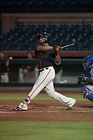 AZL Giants Black left fielder Franklin Labour (49) follows through on his swing during an Arizona League game against the AZL Royals at Scottsdale Stadium on August 7, 2018 in Scottsdale, Arizona. The AZL Giants Black defeated the AZL Royals by a score of 2-1. (Zachary Lucy/Four Seam Images)