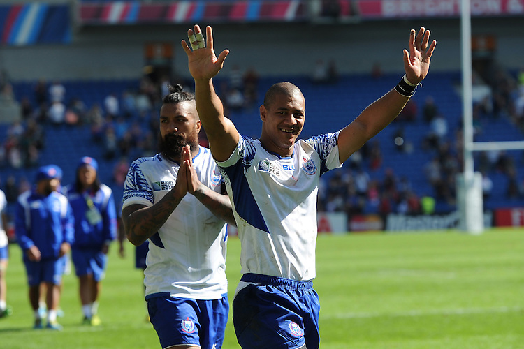 Paul Perez of Samoa thanks the fans during Match 6 of the Rugby World Cup 2015 between Samoa and USA - 20/09/2015 - Brighton Community Stadium, Brighton <br /> Mandatory Credit: Rob Munro/Stewart Communications