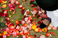 """A young girl plays with colorful rose petals during the Inti Raymi celebration in Pichincha province, Ecuador, 27 June 2010. Inti Raymi, """"Festival of the Sun"""" in Quechua language, is an ancient spiritual ceremony held in the Indian regions of the Andes, mainly in Ecuador and Peru. The lively celebration, set by the winter solstice, goes on for various days. The highland Indians, wearing beautiful costumes, dance, drink and sing with no rest. Colorful processions in honor of the God Inti (Sun) pass through the mountain villages giving thanks for the harvest and expressing their deep relation to the Mother Earth (Pachamama)."""