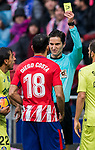 Diego Costa of Atletico de Madrid is shown the yellow card by referee Jose Luis Munuera Montero during the La Liga 2017-18 match between Atletico de Madrid and Getafe CF at Wanda Metropolitano on January 06 2018 in Madrid, Spain. Photo by Diego Gonzalez / Power Sport Images
