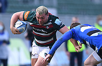 18th April 2021 2021; Recreation Ground, Bath, Somerset, England; English Premiership Rugby, Bath versus Leicester Tigers; Ellis Genge of Leicester Tigers hands off Ben Spencer of Bath