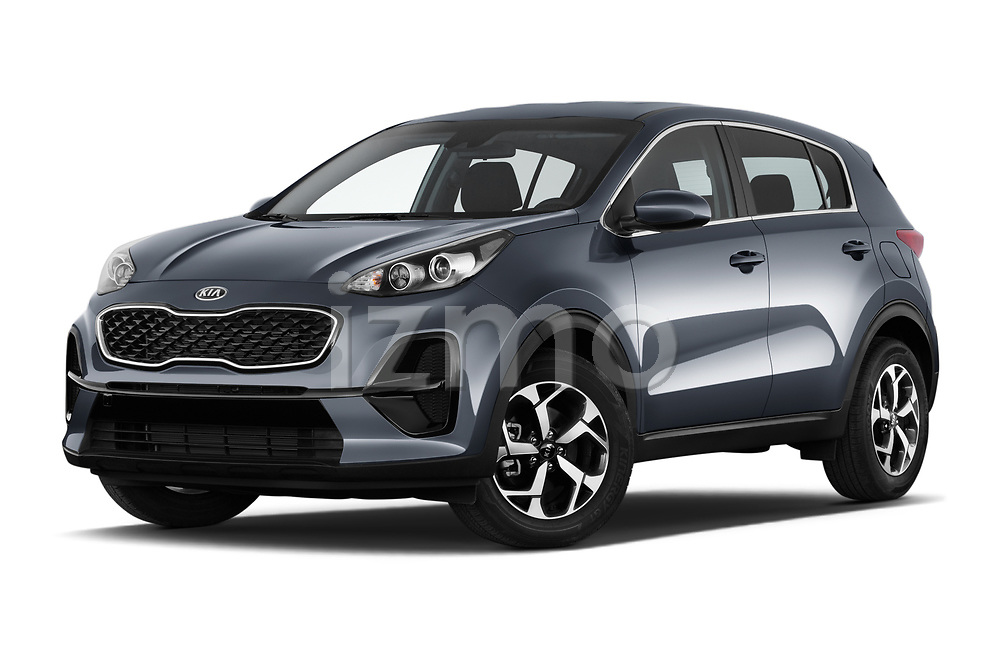 Stock pictures of low aggressive front three quarter view of 2021 KIA Sportage LX 5 Door SUV Low Aggressive