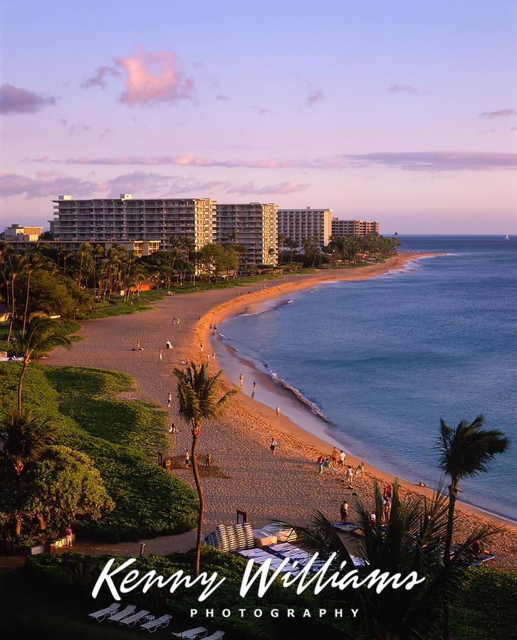 Kaanapali Beach and Resorts at Sunset, Maui, Hawaii, USA.