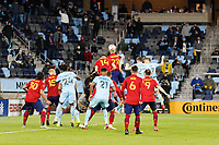 SAINT PAUL, MN - APRIL 24: Aaron Herrera #22 of Real Salt Lake heads the ball during a game between Real Salt Lake and Minnesota United FC at Allianz Field on April 24, 2021 in Saint Paul, Minnesota.