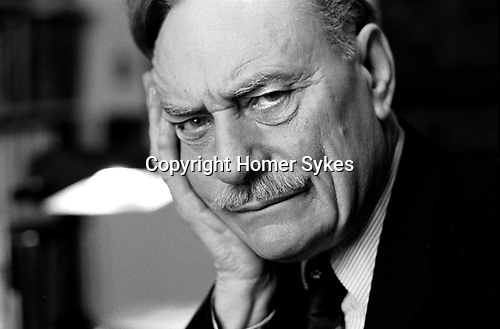 Enoch Powell at home London 1983<br /> <br /> My ref 11a/4959/, 1983,