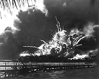 USS SHAW exploding during the Japanese raid on Pearl Harbor. December 7, 1941.  (Navy)<br /> NARA FILE #:  080-G-16871<br /> WAR & CONFLICT BOOK #:  1135