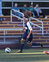 University of Rhode Island (URI) forward Jamie Eckmayer (9) dribbles down the wing. Boston College defeated University of Rhode Island, 4-2, at Newton Campus Field, September 25, 2012.