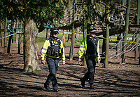 The public continue to leave homes & ignore Government guidelines as the weekend weather remains warm, Police parole the park during the Covid-19 Pandemic in which the Government have given strict rules on only leaving the home for essential work, food shopping and one form of exercise per day.<br /> The Rye Park in High Wycombe, Bucks on 5 April 2020. Photo by Andy Rowland.