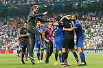 Juventus' team celebrates the victory in the Champions League 2014/2015 Semi-finals. May 13,2015. (ALTERPHOTOS/Acero)