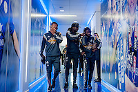 LEICESTER, ENGLAND - APRIL 18:  Wayne Routledge, Marvin Emnes and Nathan Dyer of Swansea City  arrive at the King Power Stadium prior to the Premier League match between Leicester City and Swansea City at The King Power Stadium on April 18, 2015 in Leicester, England.  (Photo by Athena Pictures/Getty Images)