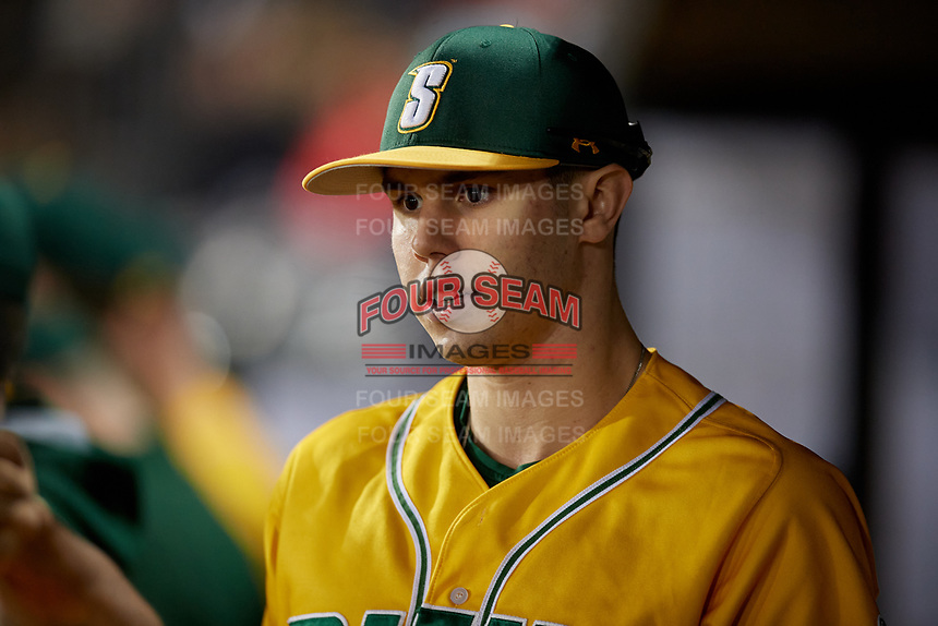 Siena Saints Tim Carroll (28) during a game against the UCF Knights on February 14, 2020 at John Euliano Park in Orlando, Florida.  UCF defeated Siena 2-1.  (Mike Janes/Four Seam Images)