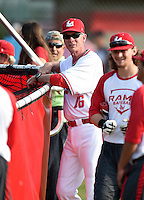 Lake Mary Rams coach Ed Nuss during batting practice before a game against the Lake Brantley Patriots on April 2, 2015 at Allen Tuttle Field in Lake Mary, Florida.  Lake Brantley defeated Lake Mary 10-5.  (Mike Janes/Four Seam Images)