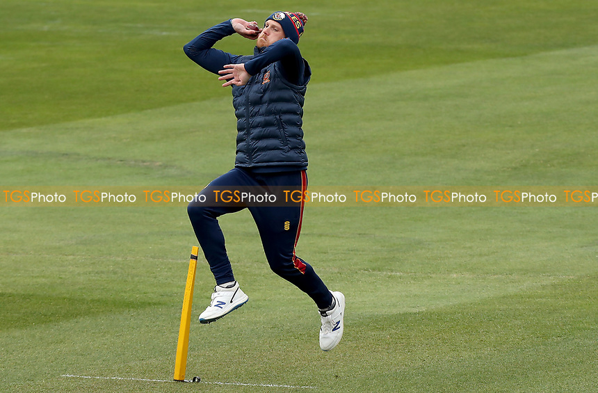 Jamie Porter of Essex warms up prior to Essex CCC vs Worcestershire CCC, LV Insurance County Championship Group 1 Cricket at The Cloudfm County Ground on 8th April 2021