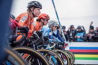 Women's Elite race start. <br /> <br /> Annemarie Worst (NED) race ready. <br /> <br /> UCI 2019 Cyclocross World Championships<br /> Bogense / Denmark<br /> <br /> ©kramon