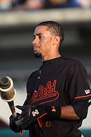Billy Hamilton #4 of the Bakersfield Blaze before a game against the Rancho Cucamonga Quakes at The Epicenter on June 21, 2012 in Rancho Cucamonga, California. Bakersfield defeated Rancho Cucamonga 12-2. (Larry Goren/Four Seam Images)