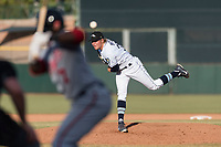 Peoria Javelinas relief pitcher Dalton Moats (39), of the Tampa Bay Rays organization, delivers a pitch to Daniel Johnson (7) during the Arizona Fall League Championship Game against the Salt River Rafters at Scottsdale Stadium on November 17, 2018 in Scottsdale, Arizona. Peoria defeated Salt River 3-2 in 10 innings. (Zachary Lucy/Four Seam Images)