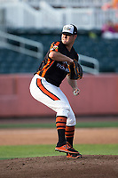 Aberdeen IronBirds relief pitcher Zach Matson (35) in action against the Hudson Valley Renegades at Leidos Field at Ripken Stadium on July 27, 2017 in Aberdeen, Maryland.  The Renegades defeated the IronBirds 2-0 in game one of a double-header.  (Brian Westerholt/Four Seam Images)