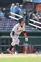 Donavan Tate (2) of the Lake Elsinore Storm bats during a game against the Inland Empire 66ers at San Manuel Stadium on May 27, 2015 in San Bernardino, California. Lake Elsinore defeated Inland Empire, 12-9. (Larry Goren/Four Seam Images)