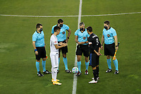 SAN JOSE, CA - NOVEMBER 4: Referee Timothy Ford conducts the coin toss with Eduard Atuesta #20 of LAFC and Chris Wondolowski #8 of the San Jose Earthquakes during a game between Los Angeles FC and San Jose Earthquakes at Earthquakes Stadium on November 4, 2020 in San Jose, California.