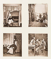 BNPS.co.uk (01202 558833)<br /> Pic: ForumAuctions/BNPS<br /> <br /> Pictured: Pictures of everyday life including a woman applying makeup (bottom right).<br /> <br /> Rarely seen 150 year old photos taken by one of the first British photographers to explore China have emerged for sale for £20,000.<br /> <br /> Scotsman John Thomson (1837-1921) travelled to the Far East in 1868 and established a studio in Hong Kong, using it as a base to explore remote parts of the vast country for the next four years, photographing landmarks, scenery and the native population.<br /> <br /> In many cases, he was the first Westerner the people he photographed had encountered.<br /> <br /> One striking image shows a prisoner in chains with a head poking through a board covered in Chinese symbols, perhaps listing his misdemeanours. In another, a man poses next to a giant camel statue in the grounds around the Ming tombs of the Forbidden City.<br /> <br /> Almost 100 of his photos feature in a rare first edition of 'Thomson Illustrations of China and Its People' (1873), which is going under the hammer with London-based Forum Auctions.