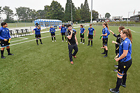team of Club Brugge  pictured during the warming up of a female soccer game between Club Brugge Dames YLA and RSC Anderlecht on the third matchday of the 2021 - 2022 season of Belgian Scooore Womens Super League , saturday 4 september 2021in Aalter , Belgium . PHOTO SPORTPIX   DIRK VUYLSTEKE