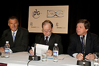 Montreal (QC) CANADA, May 22 2007-<br /> Maxime Bernier, Minister of Industry, Canada (L) Raymond Bachand, Minister MDEIE and Minister Tourism, Quebec (M) <br /> Paul L'archeveque, Genome Quebec (R) at the<br /> Press conference of P3G (public Population Projet) in Genomics to foster harmonization genomic data collection and to share those datas.<br /> <br /> photo : (c) Pierre Roussel -  images Distribution