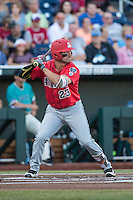 Zach Gibbons #23 of the Arizona Wildcats bats during a College World Series Finals game between the Coastal Carolina Chanticleers and Arizona Wildcats at TD Ameritrade Park on June 27, 2016 in Omaha, Nebraska. (Brace Hemmelgarn/Four Seam Images)