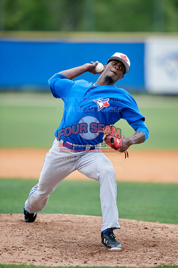 Toronto Blue Jays pitcher Dany Jimenez (80) during a Minor League Spring Training Intrasquad game on March 31, 2018 at Englebert Complex in Dunedin, Florida.  (Mike Janes/Four Seam Images)