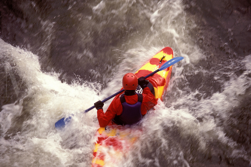 AJ1015, Vermont, kayak, whitewater, Man kayaking in foamy whitewater on Mad River in Moretown.