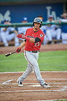 Carlos Rivero (23) of the Billings Mustangs bats against the Ogden Raptors at Lindquist Field on August 18, 2018 in Ogden, Utah. Billings defeated Ogden 6-4. (Stephen Smith/Four Seam Images)