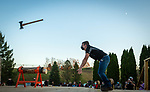 BEACON FALLS, CT-112020JS16—Hunter Laudate, a members of the Woodland Timber Team, competes in the axe throw competition during the Battle Royal Friday at Woodland Regional High School.<br />  Jim Shannon Republican-American