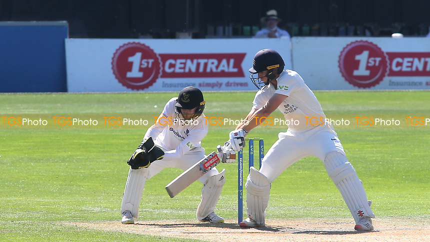Sussex wicketkeeper, Oli Carter, catches the ball as Middlesex batsman, Martin Andersson looks on during Sussex CCC vs Middlesex CCC, LV Insurance County Championship Division 3 Cricket at The 1st Central County Ground on 7th September 2021