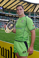 Ed Jenkins of Australia holds up the Plate after the iRB Marriott London Sevens at Twickenham on Sunday 13th May 2012 (Photo by Rob Munro)