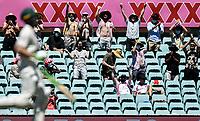 10th January 2021; Sydney Cricket Ground, Sydney, New South Wales, Australia; International Test Cricket, Third Test Day Four, Australia versus India; Australian fans celebrate a six