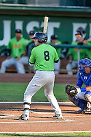 Brady Conlan (8) of the Great Falls Voyagers at bat against the Ogden Raptors in Pioneer League action at Lindquist Field on August 16, 2016 in Ogden, Utah. Ogden defeated Great Falls 2-1. (Stephen Smith/Four Seam Images)