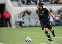 LOS ANGELES, CA - MARCH 01: Carlos Vela #10 of LAFC moves with the ball during a game between Inter Miami CF and Los Angeles FC at Banc of California Stadium on March 01, 2020 in Los Angeles, California.