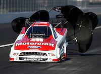 Nov 10, 2013; Pomona, CA, USA; NHRA funny car driver Bob Tasca III during the Auto Club Finals at Auto Club Raceway at Pomona. Mandatory Credit: Mark J. Rebilas-